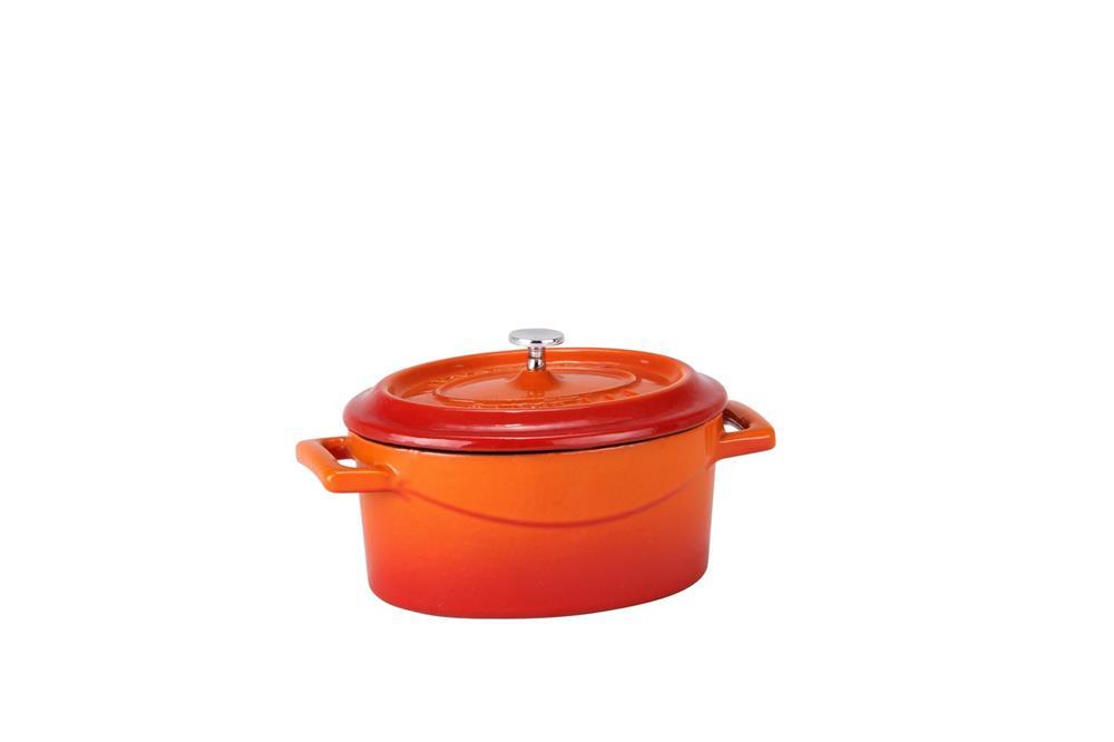 mini cocotte ovale orange en fonte tom press. Black Bedroom Furniture Sets. Home Design Ideas
