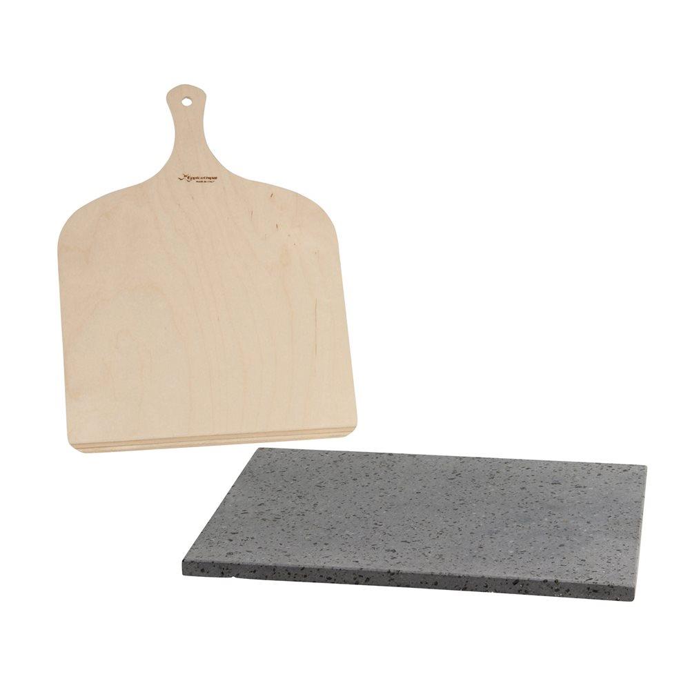 plaque de cuisson r fractaire en pierre de lave avec pelle. Black Bedroom Furniture Sets. Home Design Ideas