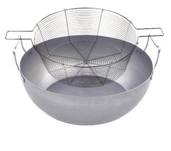 Bassine à friture 40 cm métal avec panier en fil étamé