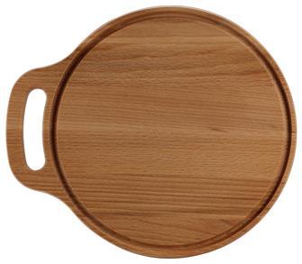 Planche ronde 28 cm en hêtre avec poignée