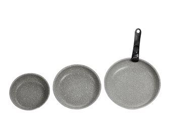 Poêles alu revêtement pierre 20 24 et 28 cm avec manche clipsable