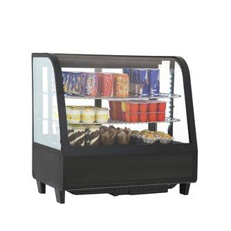 Vitrine réfrigérée 100 litres avec éclairage led à poser sur table ou comptoir noire