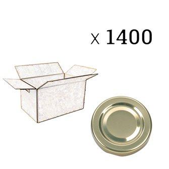 Capsules twist off dorées de 63 mm de diamètre par carton de 1400