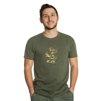 Tee shirt homme Bartavel Nature kaki sérigraphie 1 lièvre au repos et 1 lièvre en course L