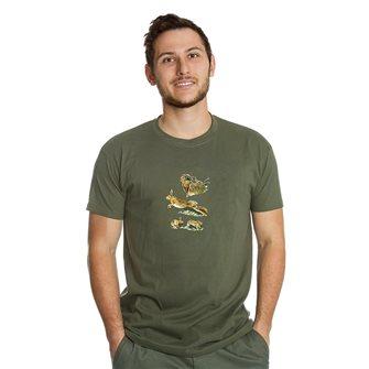 Tee shirt homme Bartavel Nature kaki sérigraphie 1 lièvre au repos et 1 lièvre en course XXL