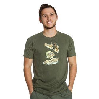 Tee shirt Bartavel Nature kaki L sérigraphie de lièvres