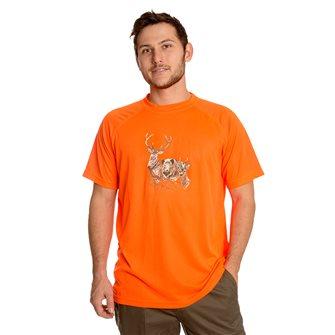Tee shirt respirant Bartavel Diego orange M sérigraphie têtes de cerf sanglier biche