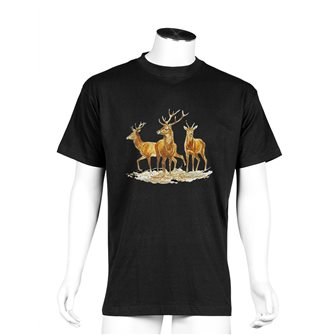 Tee shirt homme Bartavel Nature noir sérigraphie trio de 2 cerfs et 1 daguet L