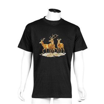 Tee shirt homme Bartavel Nature noir sérigraphie trio de 2 cerfs et 1 daguet XL