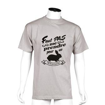 Tee shirt Bartavel Nature taupe sérigraphie humoristique lapin M