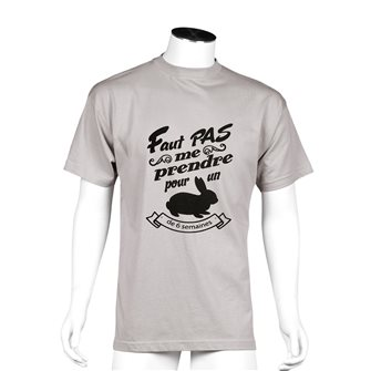 Tee shirt Bartavel Nature taupe sérigraphie humoristique lapin XL
