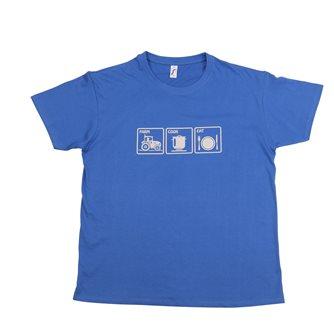 T-shirt XL Farm Cook Eat Tom Press bleu sérigraphie grise