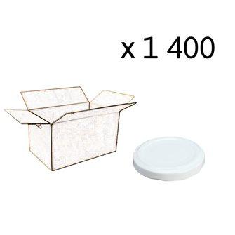 Capsules twist off blanches de 63 mm de diamètre par carton de 1400