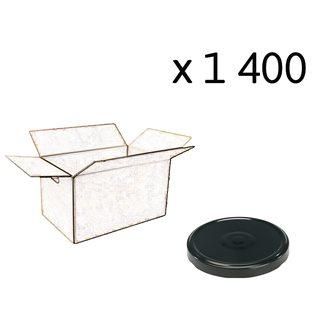 Capsules twist off noires de 63 mm de diamètre par carton de 1400