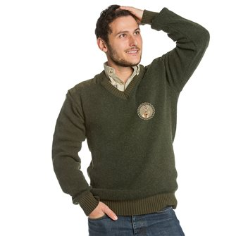 Pull homme chasse col V Bartavel P61 kaki XL patch lièvre