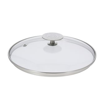 Couvercle en verre 24 cm avec bord et poignée inox