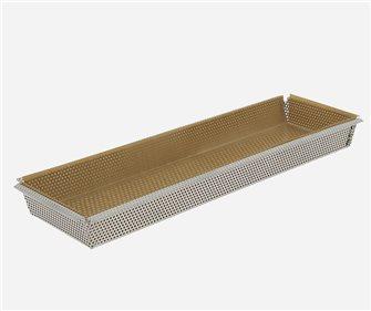 Moule à tarte rectangulaire inox 35x10 cm perforé fond amovible GARANTI A VIE