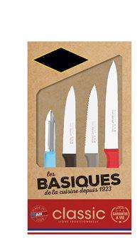 Coffret 4 couteaux cuisine inox manche couleur fabriqué en France