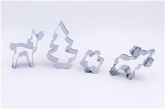 Lot de 4 emporte-pièces Noël nordique sapin biche élan flocon