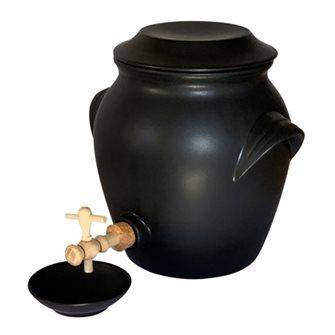 Vinaigrier en céramique 4,8 litres avec coupelle Emile Henry noir mat
