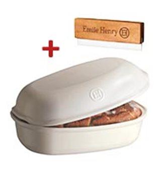 Moule à pain artisan miche et gros pain en céramique blanc Lin Emile Henry + grignette OFFERTE
