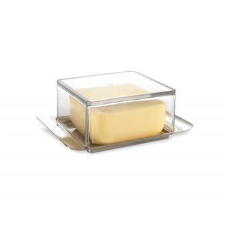 Beurrier élégant 125 g en acier inox et couvercle translucide