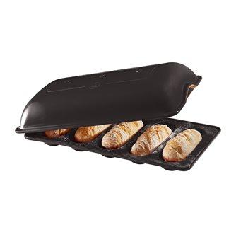 Moule 5 mini-baguettes en céramique gris anthracite Fusain Emile Henry pour petits pains et sandwich